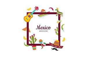Vector flat Mexico attributes with