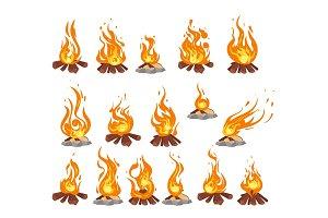 bonfire with logs