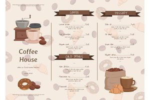 Vector cartoon coffee house menu