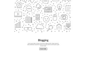 Vector line blog icons background