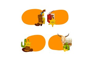 Vector cartoon wild west elements