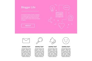 Vector line blog icons landing page