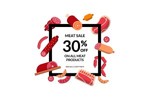 Vector flat meat and sausages frame