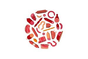 Vector flat meat and sausages icons
