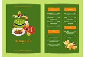 Vector cartoon mexican food