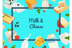 Vector cartoon dairy and cheese