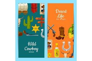 Vector cartoon wild west elements