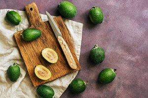 Fresh feijoa fruits on a cutting