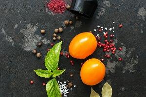 Spices bell pepper, basil, bay leaf