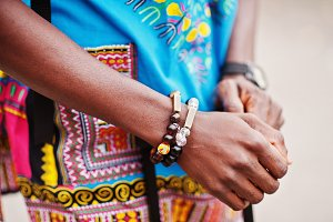 Close up hands of african man in afr