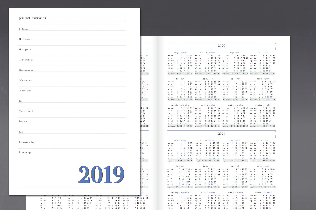 Daily planner for 2019 year