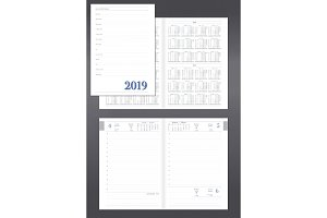 Daily planner for 2019 new year with