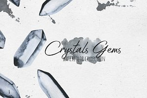Crystals Gems Watercolor