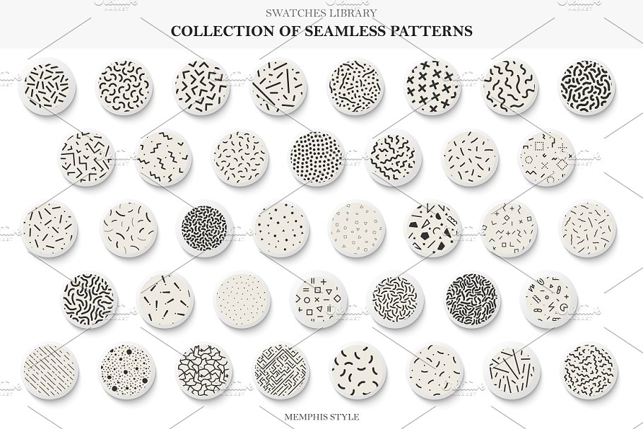 Seamless memphis vector patterns