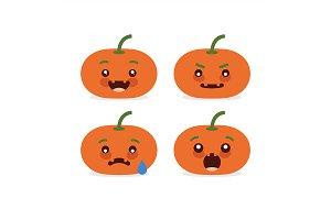 Emoji halloween pumpkin set