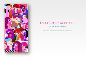 Large group of people vector graphic