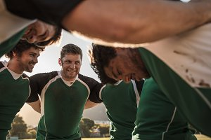 Happy rugby team during half time