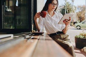 Businesswoman using digital tablet