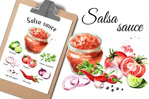 Salsa sauce. Watercolor collection
