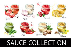 Sauce collection. Watercolor set