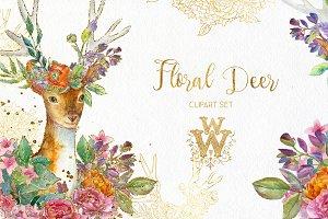 Watercolor deer clipart