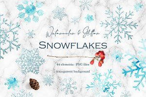 Blue watercolor snowflakes clipart