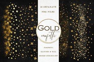 Gold confetti brush strokes clipart