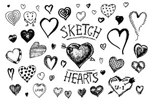 Set of hearts. Doodle