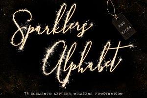 Sparklers alphabet clip art