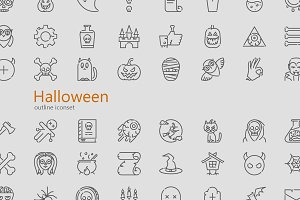 Halloween modern outline iconset