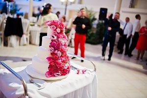 Sweet wedding cake with pink roses
