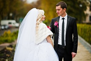 Close up portrait of happy wedding c