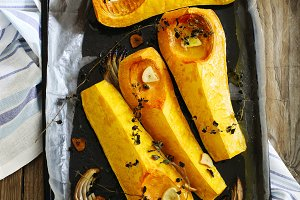 Roasted pumpkin slices with oregano,