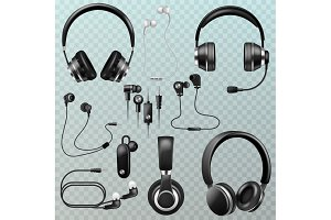 Headphones vector headset and
