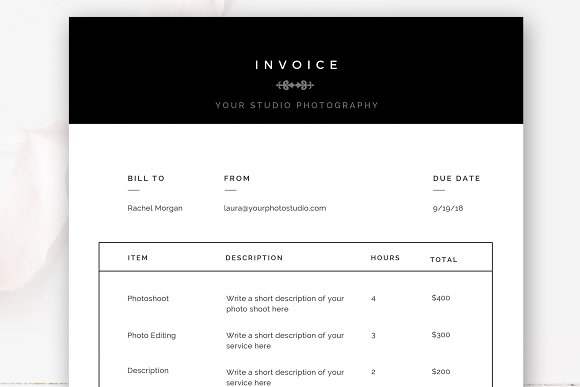 photographer invoice template stationery