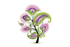 Vintage magic floral tree, sketch