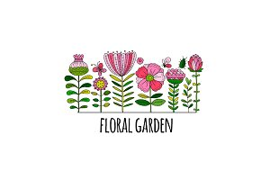 Floral garden, sketch for your