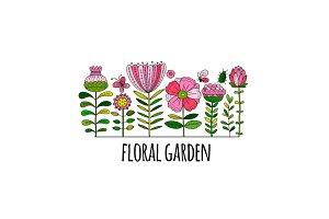 Floral garden, sketch for your