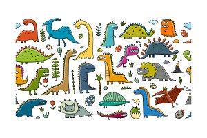Funny dinosaurs, childish style