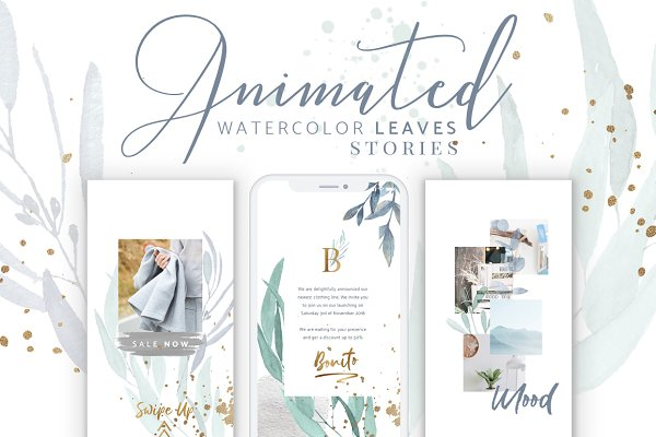 Social Media Templates: eviory - ANIMATED Instagram Watercolor Leaves