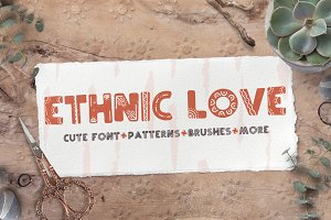Ethnic love font BUNDLE+ 40 ELEMENTS