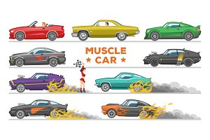 Muscle car vector racing speedcar on