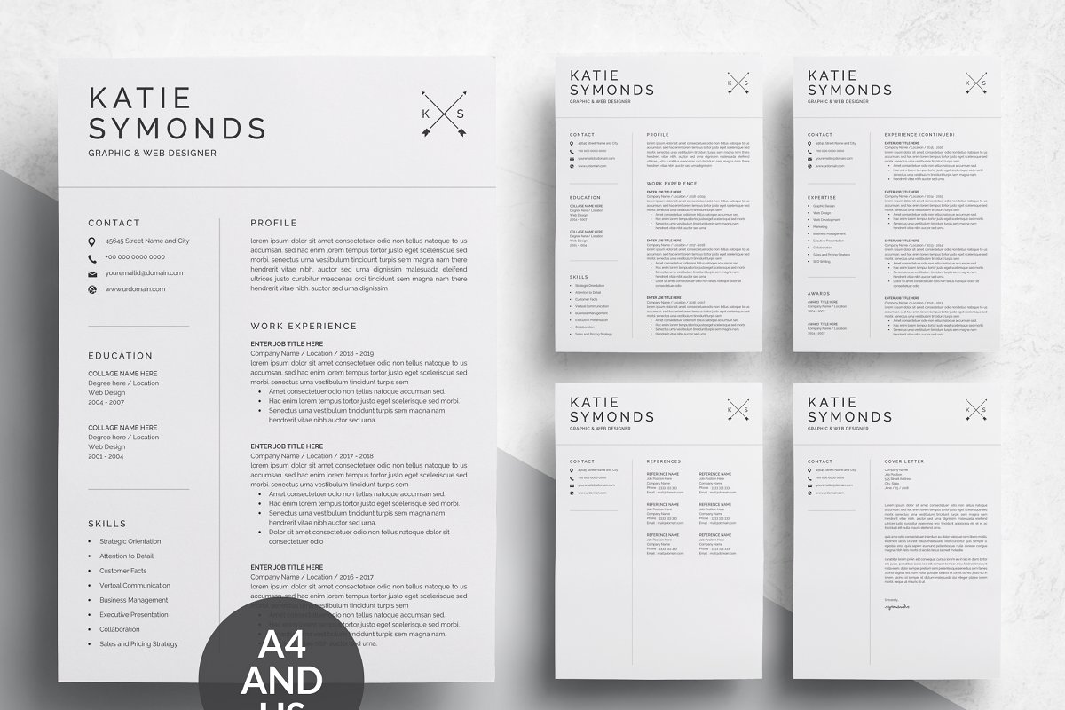 Simple Clean Resume Template Templates Creative Market