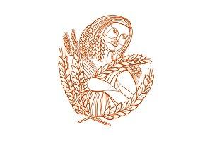 Demeter Goddess of Harvest Mono Line