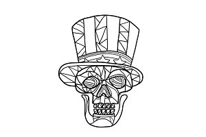 Skull Uncle Sam Black and White Mosa