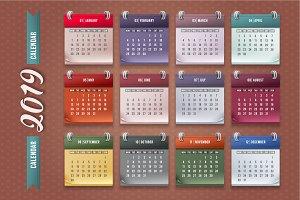 Calendar 2019. Vector.