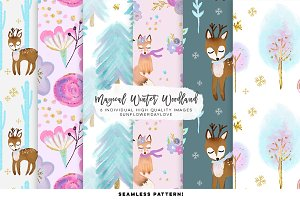 winter woodland digital paper