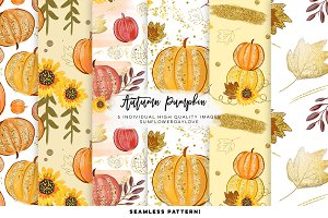 pumpkin pattern digital paper