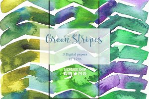 Green stripes watercolor paper