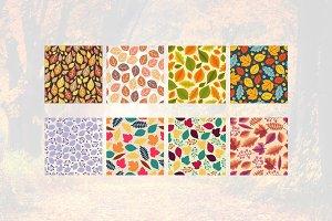 8 Leaf Autumn Fall Seamless Pattern
